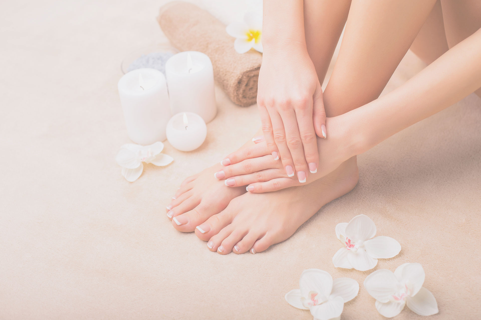 manicure and pedicure feet & hands with flowers & candles