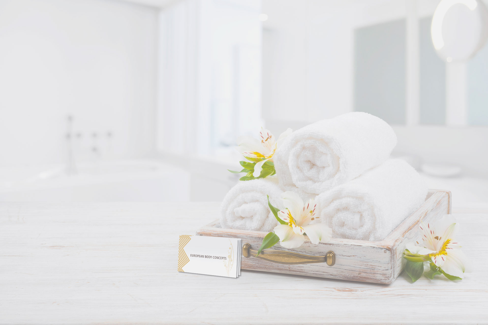 White spa towels in a tray